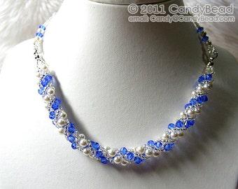Fresh Blue Sweety Twisty Swarovski Crystal Necklace by CandyBead