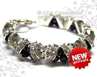 Swarovski Bracelet, Black and Gray Crystal Cuff Bracelet by CandyBead