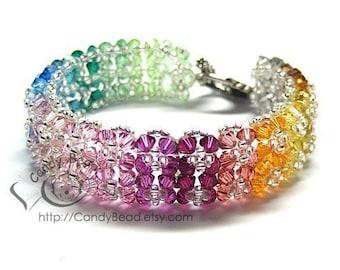 Gorgeous Rainbow Floral Crystal bracelet