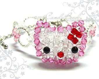 Sweet Pink Kitty Sparkling Swarovski Crystal Bracelet by CandyBead
