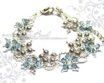Swarovski bracelet, Light Gray Flower Swarovski Crystal Bracelet by CandyBead