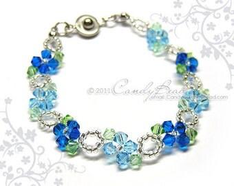 Crystal bracelet; Swarovski bracelet; Glass bracelet; Aqua Blue Swarovski Crystal Bracelet - Sweet blue by CandyBead