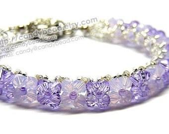 Swarovski Bracelet, Violet and Opal Swarovski Crystal Bracelet by CandyBead