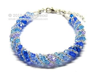 Deep Blue Sea Twisty Swarovski Crystal Bracelet by CandyBead
