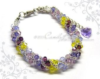 Swarovski bracelet, Purple shade twisty Swarovski Crystal Bracelet by CandyBead