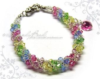 Rainbow bracelet; crystal bracelet; Swarovski bracelet; Glass bracelet;Sweet rainbow twisty Swarovski Crystal Bracelet