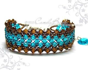 Swarovski bracelet, Teal and Brown crystal bracelet by CandyBead