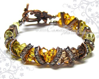 Swarovski Bracelet, Honey Crystal Cuff Vintage Look Bracelet by CandyBead