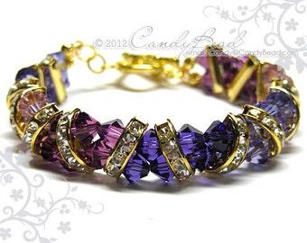 Swarovski Bracelet, Purple and Gold Crystal Cuff Bracelet by CandyBead