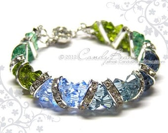 Swarovski Bracelet, Gorgeous Blue and Green Crystal Cuff Bracelet by CandyBead