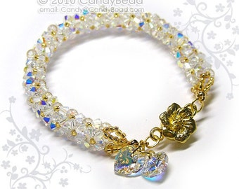 Crystal bracelet; Swarovski bracelet; Glass bracelet;Luxurious White AB Swarovski Crystal Bracelet