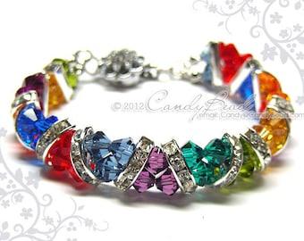 Rainbow bracelet; crystal bracelet; Swarovski bracelet; Glass bracelet;Dark Rainbow Crystal Cuff Bracelet