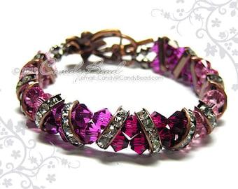 Swarovski Bracelet, Ruby Rose Crystal Cuff Vintage Look Bracelet by CandyBead