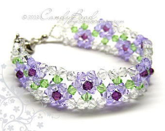 Crystal Bracelet, Purple Rose Swarovski Bracelet by CandyBead