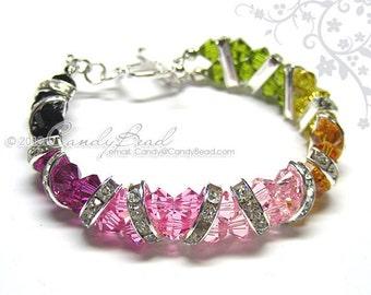 Swarovski Bracelet, Silver Tourmaline Crystal Cuff Bracelet by CandyBead