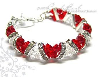 Swarovski Bracelet, Sweet Red and White Crystal Cuff Bracelet by CandyBead