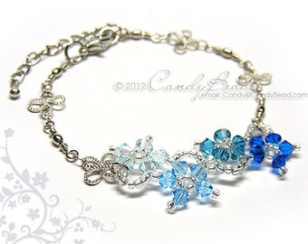 Swarovski Bracelet, Blue Shade Flower Dancing Swarovski Crystal Bracelet