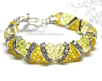Swarovski Bracelet, Light Yellow Topaz Crystal Cuff Bracelet by CandyBead