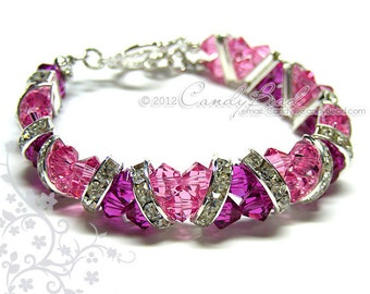 Swarovski Bracelet, Fuchsia Rose Crystal Cuff Bracelet by CandyBead