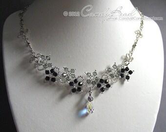 Swarovski Necklace, Black and Gray Flower Dancing Swarovski Crystal Silver Necklace
