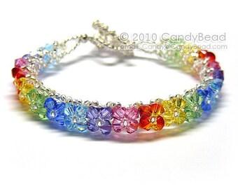 Rainbow bracelet; crystal bracelet; Swarovski bracelet; Glass bracelet;Bright Sunshine Swarovski Crystal Bracelet by CandyBead