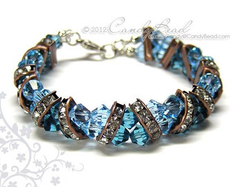 Swarovski Bracelet, Blue Aquamarine Crystal Cuff Bracelet by CandyBead