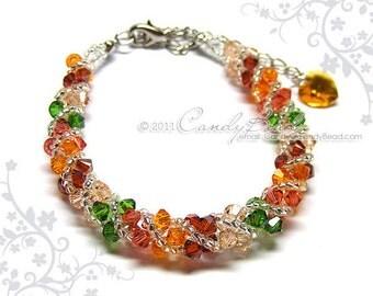 Swarovski bracelet, Bright color shade twisty Swarovski Crystal Bracelet by CandyBead