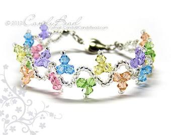 Swarovski Crystal Bracelet - Sweet wave rainbow bracelet by CandyBead