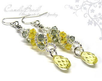 Swarovski earrings;crystal earrings; Yellow and Gray Twisty Swarovski Crystal by CandyBead