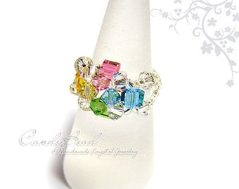 Sweet Juicy Swarovski Crystal Ring in Silver by CandyBead R002-01