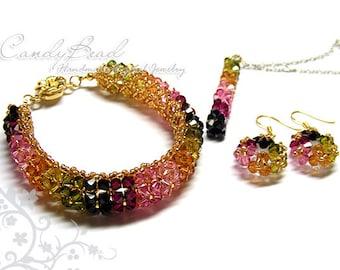 Colorful Tourmaline Swarovski Crystal Sets by CandyBead (J013-01)