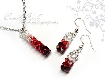 Red shade swarovski crystals set - earrings and necklace pendant by CandyBead (J006-01)