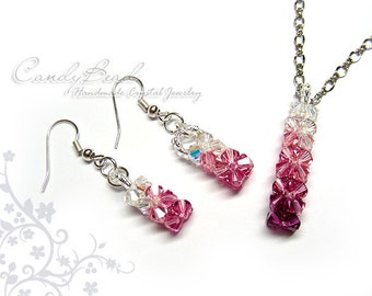 Swarovski necklace and earrings, Pink shade set by CandyBead (J006-02)