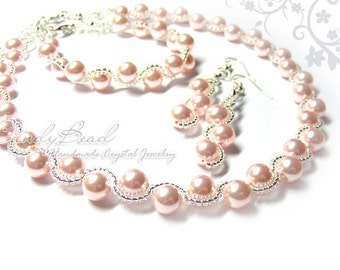 Sweet Pink Swarovski Glass Pearl Set by CandyBead (J014-01)