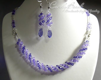 Purple and Lavender Twisty Swarovski Crystal Set by CandyBead (J007-01)