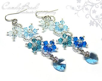 Swarovski earrings;crystal earrings;Blue Shade Flower Dancing Swarovski Crystal Earrings (E011-02)