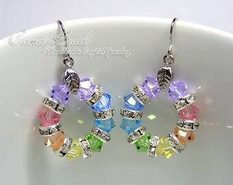 Swarovski Crystal Rondelle Earrings, Sweet Rainbow Swarovski Crystal Earrings (E018-02)