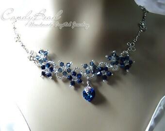 Swarovski Necklace, Navy Blue Flower Dancing Swarovski Crystal Silver Necklace (N007-01)