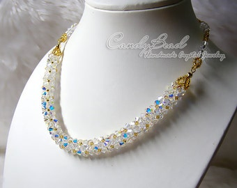 Crystal Necklace, Luxurious White AB Swarovski Crystal Necklace by CandyBead (N008-10)
