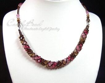 Coco & Strawberry Twisty Swarovski Crystal Necklace by CandyBead (N004-10)