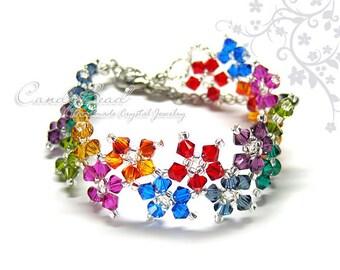 Rainbow bracelet; crystal bracelet; Swarovski bracelet; Glass bracelet;Dark Berry Multiflora Swarovski Crystals Bracelet