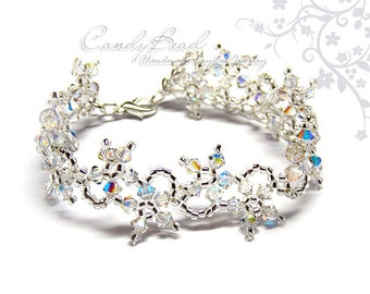 Flower Ice Swarovski Crystal Bracelet by CandyBead (B004-01)