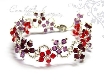 Amethyst and Red Swarovski Crystal Bracelet by CandyBead (B004-03)