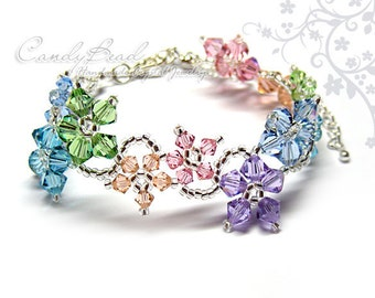 Swarovski Crystal Bracelet, Flora bracelet mix colors with rhodium clasp and adjustable chain by CandyBead (B004-08)