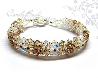 Light Gold Swarovski Crystal Bracelet by CandyBead