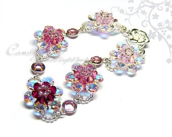 Rosy Pink Swarovski Crystal Bracelet with Flower Magnetic Clasp by CandyBead