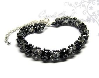 Black and Gray Swarovski Crystal Bracelet by CandyBead