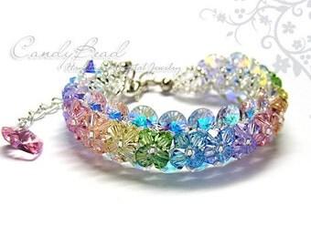 Rainbow bracelet; crystal bracelet; Swarovski bracelet; Glass bracelet;Sweet Rainbow Swarovski Crystal Bracelet