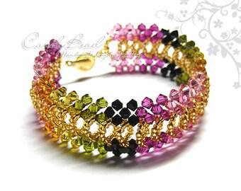 Colorful Tourmaline Splendid Swarovski Crystal Cuff Bracelet by CandyBead