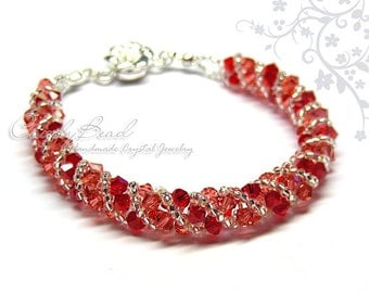 Strawberry Twisty Swarovski Crystal Bracelet by CandyBead